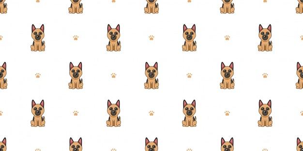 Personaggio dei cartoni animati pastore tedesco cane seamless pattern sfondo Vettore Premium