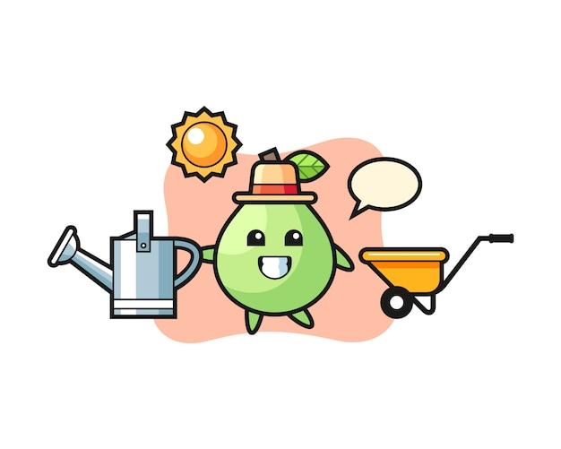 Personaggio dei cartoni animati di annaffiatoio che tiene guava, stile carino per t-shirt, adesivo, elemento logo Vettore Premium