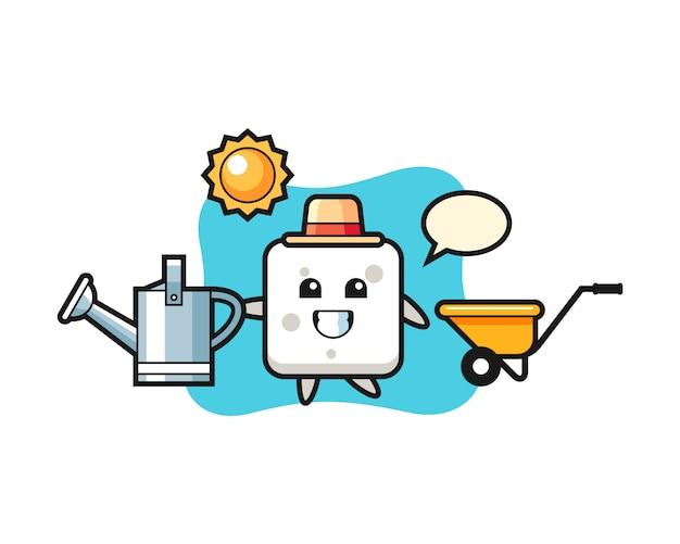 Personaggio dei cartoni animati di zolletta di zucchero che tiene annaffiatoio, stile carino per t-shirt, adesivo, elemento logo Vettore Premium