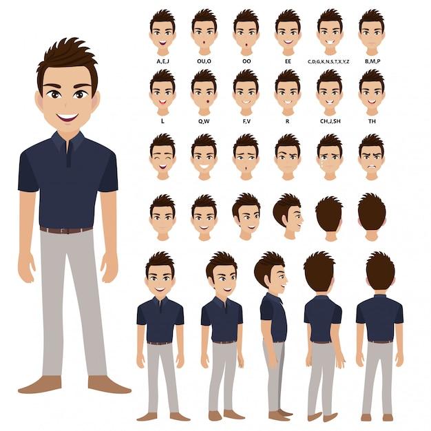 Personaggio dei cartoni animati con uomo d'affari in abbigliamento casual per l'animazione. Vettore Premium