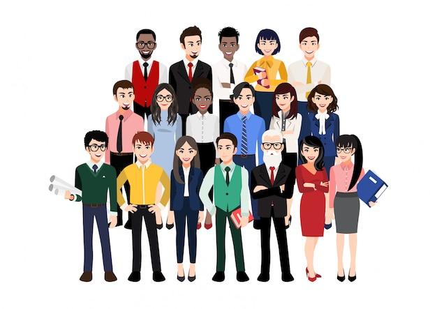 Personaggio dei cartoni animati con la squadra moderna di affari. illustrazione di diversi uomini d'affari e membri dell'azienda, in piedi uno dietro l'altro. isolato su bianco Vettore Premium