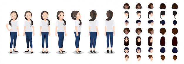 Personaggio dei cartoni animati con una donna in maglietta bianca casual per l'animazione Vettore Premium