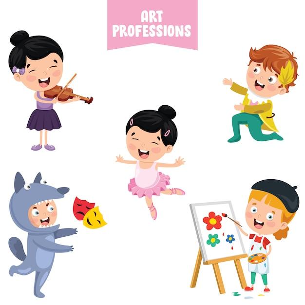 Personaggi dei cartoni animati di professioni d'arte Vettore Premium