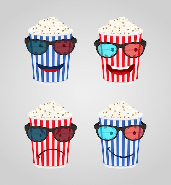 Personaggi dei cartoni animati per il cinema - popcorn con occhiali 3d Vettore Premium