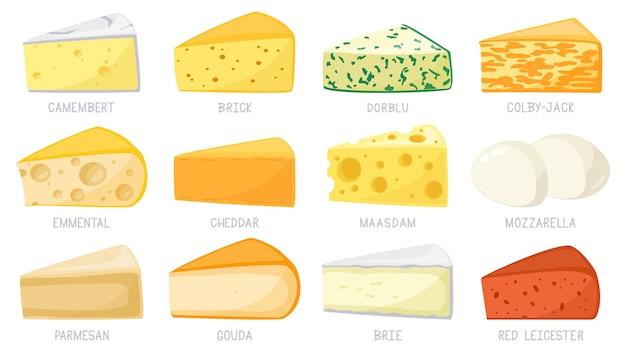 Tipi di formaggio del fumetto isolati su bianco Vettore Premium