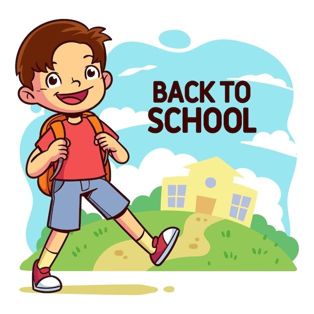 I bambini dei cartoni animati tornano a scuola Vettore Premium