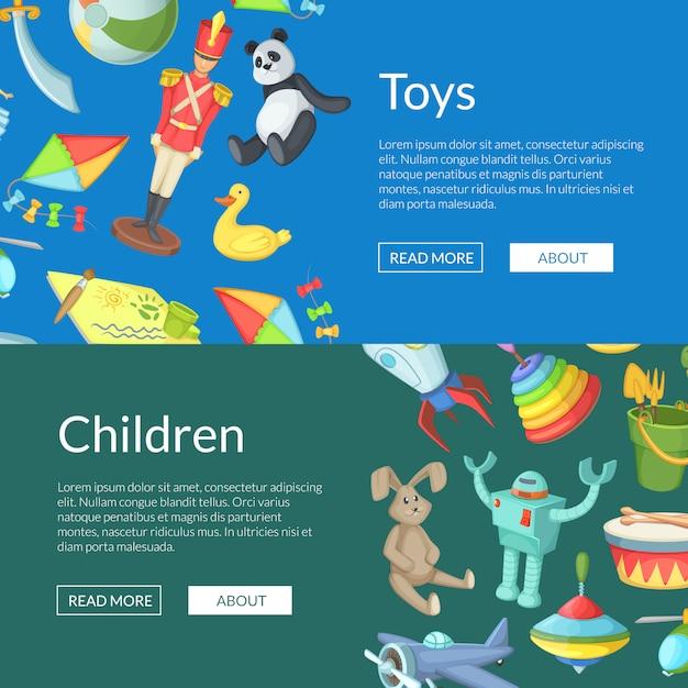 Illustrazione dei modelli dell'insegna di web dei giocattoli dei bambini del fumetto Vettore Premium