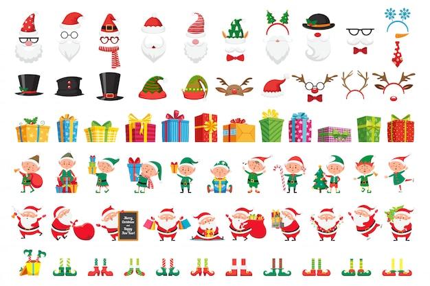 Collezione di natale dei cartoni animati. cappelli di natale e regali di capodanno. set di caratteri aiutanti di babbo natale ed elfi Vettore Premium