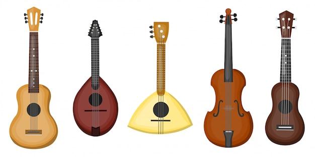 Collezione di cartoni animati con diversi tipi di chitarre su sfondo bianco. concetto di musica e strumenti musicali. Vettore Premium