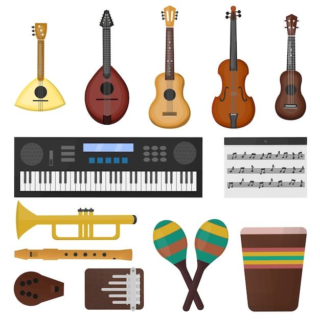 Collezione di cartoni animati con diversi tipi di strumenti musicali su sfondo bianco. concetto di musica. Vettore Premium