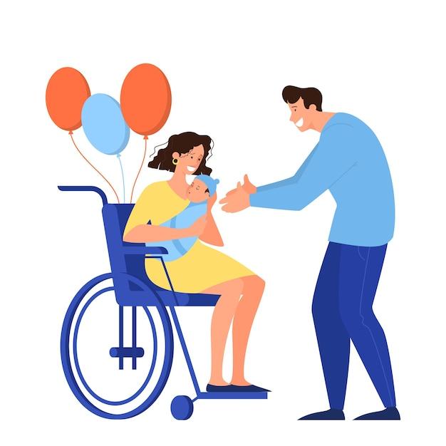 Composizione del fumetto con i genitori con baia neonato. la donna tiene un bambino, seduto sulla sedia a rotelle, l'uomo è diventato papà. Vettore Premium