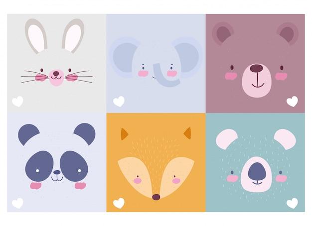Collezione di facce di personaggi simpatici animali dei cartoni animati Vettore Premium