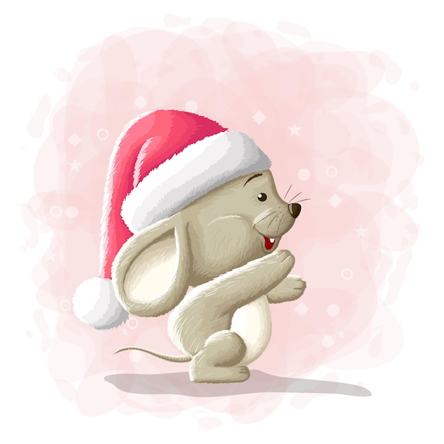 Illustrazione sveglia di buon natale del topo del fumetto Vettore Premium