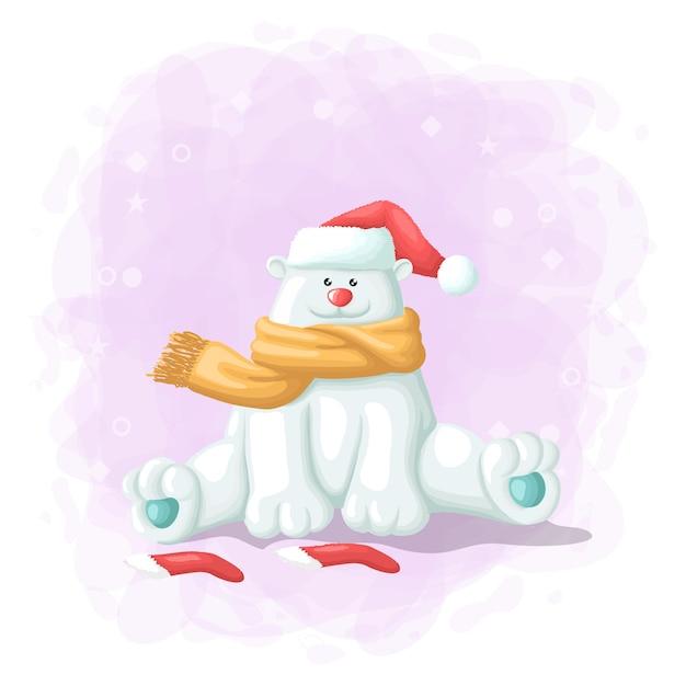 Orso polare sveglio del fumetto con l'illustrazione di buon natale del contenitore di regalo Vettore Premium