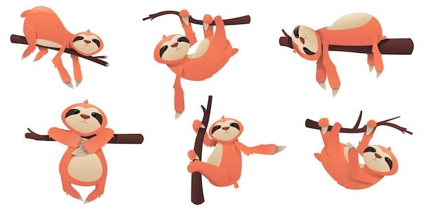 Bradipo carino cartone animato. poze di bradipo Vettore Premium