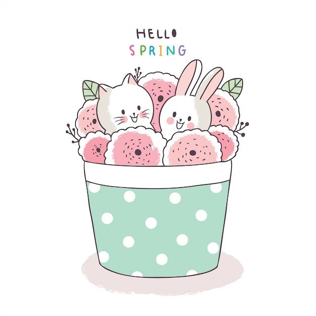 Cartone animato carino primavera, gatto e coniglio e fiore Vettore Premium