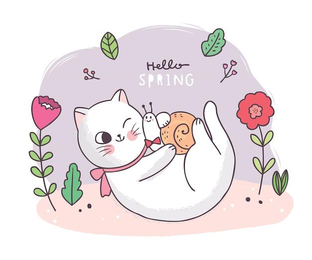 Cartone animato carino primavera, gatto e lumaca e fiore Vettore Premium