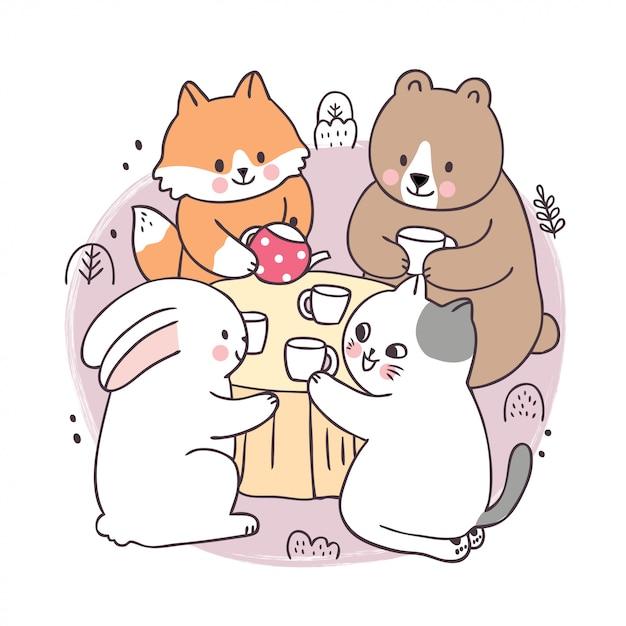 Cartoon carino primavera, fox e orso e coniglio e gatto bere caffè Vettore Premium