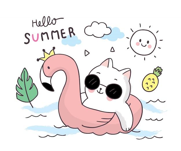 Cartoon simpatici gatti estivi e anello gonfiabile. Vettore Premium