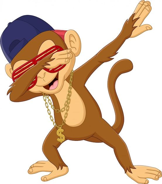 Scimmia tamponante del fumetto su bianco Vettore Premium