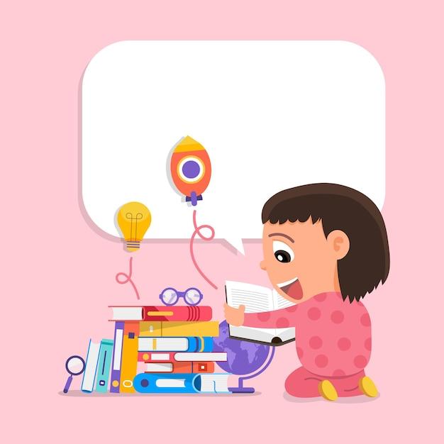 Bambini di concetto di design del fumetto che imparano e l'educazione con i libri Vettore Premium