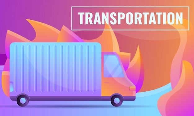 Concetto di design del fumetto di una società di trasporti con una macchina Vettore Premium