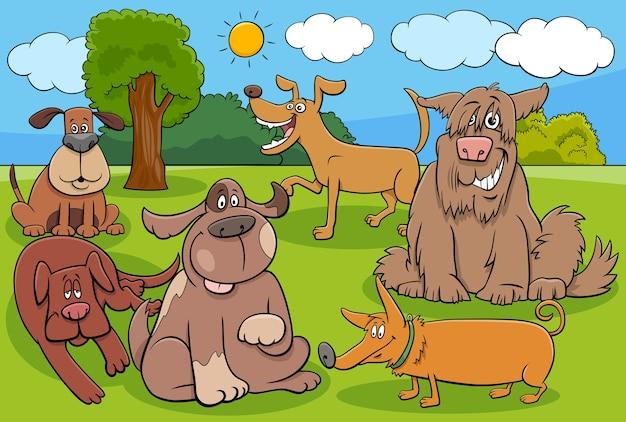 Gruppo di personaggi divertenti di cani e cuccioli dei cartoni animati Vettore Premium
