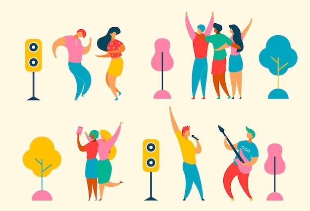 Personaggi piatti dei cartoni animati impostati per jazz, concept-cantante del festival di musica rock, musicisti, chitarra, altoparlanti. gente alla moda felice che balla, si rallegra, facendo selfie alla festa del festival musicale Vettore Premium