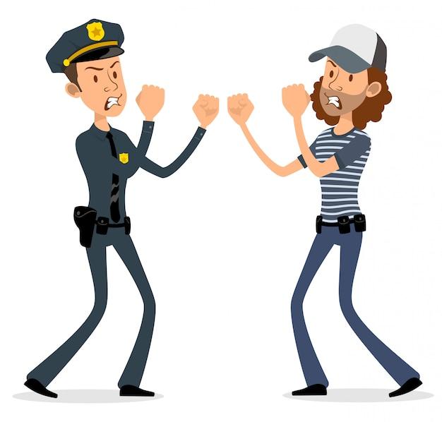 Personaggi dei cartoni animati piatto poliziotto e ladro Vettore Premium