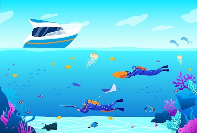 Paesaggio marino blu panoramico subacqueo piatto del fumetto con personaggi di apneista nuotare e cacciare Vettore Premium