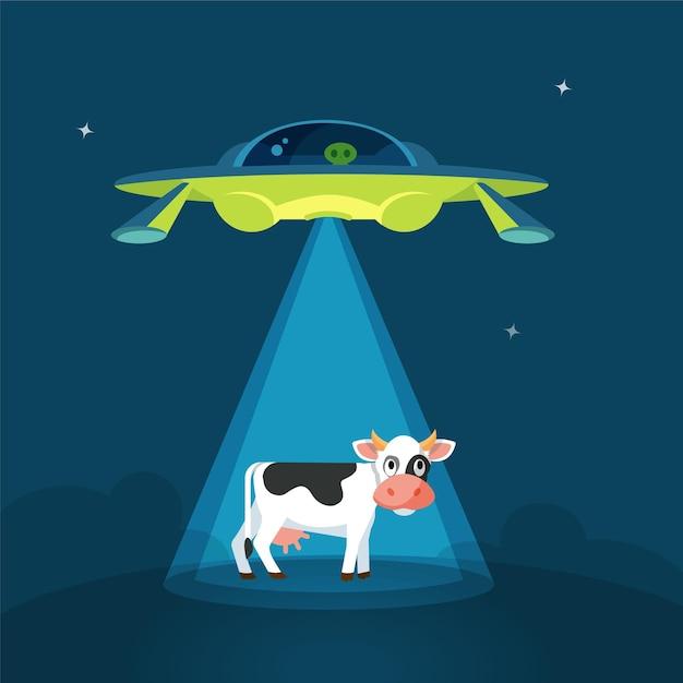 Cartoon divertente astronave alieni rapisce la mucca Vettore Premium