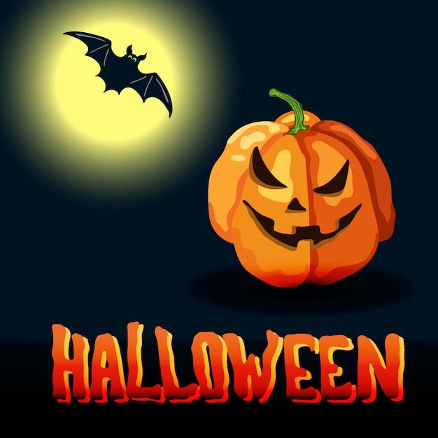 Titolo di halloween del fumetto, luna piena e zucca spettrale Vettore Premium