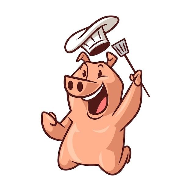 Chef felice dei cartoni animati Vettore Premium