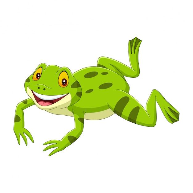 Salto felice della rana verde del fumetto Vettore Premium