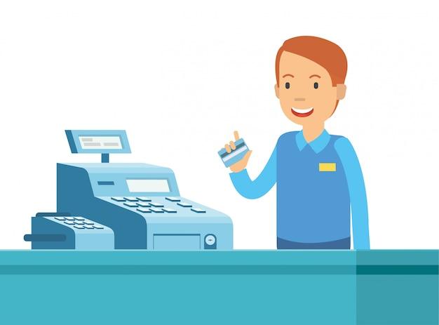 Cartone animato dell'uomo felice nella cassiera con gli strumenti che usa Vettore Premium