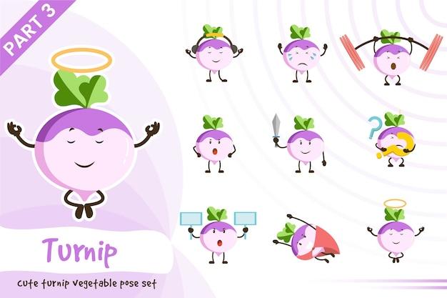Fumetto illustrazione di carino set di verdure rapa Vettore Premium