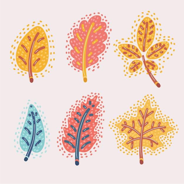 Illustrazione del fumetto delle foglie di autunno cadute insieme. rosso, rovere giallo, castagno, espe. concetto moderno di tema autunnale. Vettore Premium