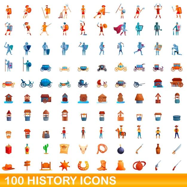 Cartoon illustrazione della storia set di icone isolato su bianco Vettore Premium