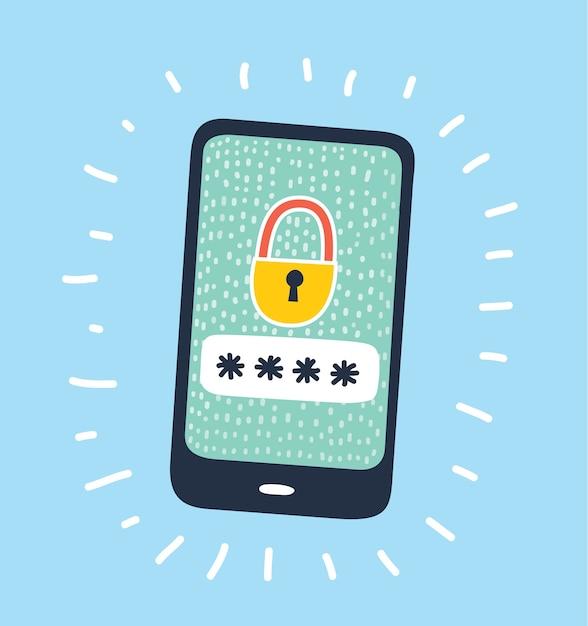Fumetto illustrazione dell'icona del concetto di sicurezza internet Vettore Premium