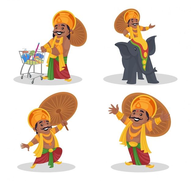 Fumetto illustrazione di re mahabali set di caratteri Vettore Premium