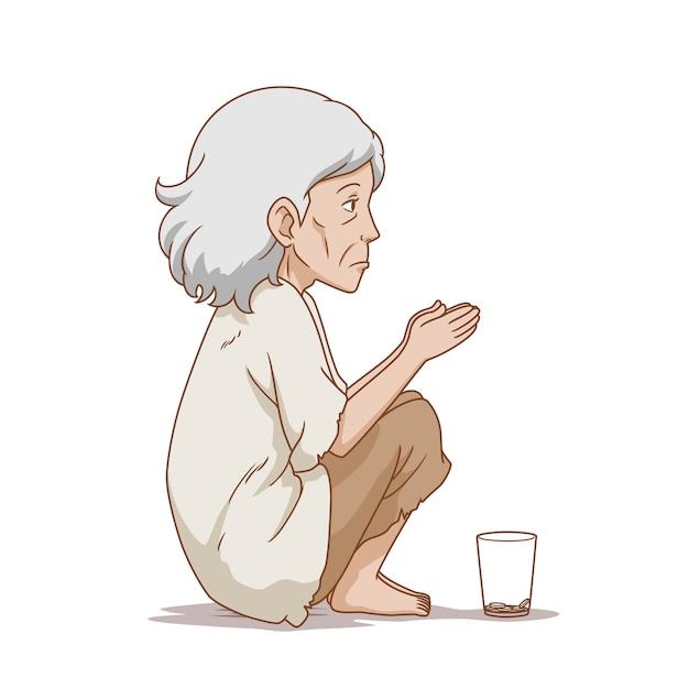 Cartoon illustrazione della vecchia mendicante donna seduta a terra. Vettore Premium