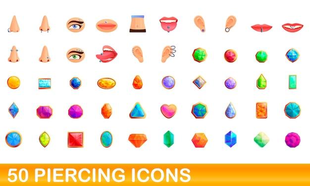Cartoon illustrazione di piercing set di icone isolato su bianco Vettore Premium