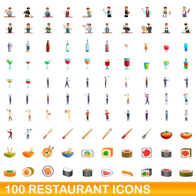 Illustrazione del fumetto delle icone del ristorante messe isolato su bianco Vettore Premium