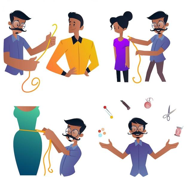 Fumetto illustrazione di set di caratteri su misura Vettore Premium