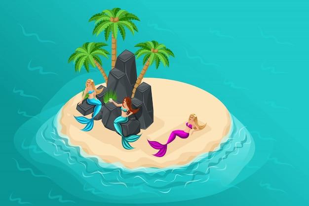 Isola dei cartoni animati, personaggi delle fiabe, sirene su un'isola disabitata, sedersi sulle logge, sdraiarsi sulla sabbia, mare, oceano Vettore Premium