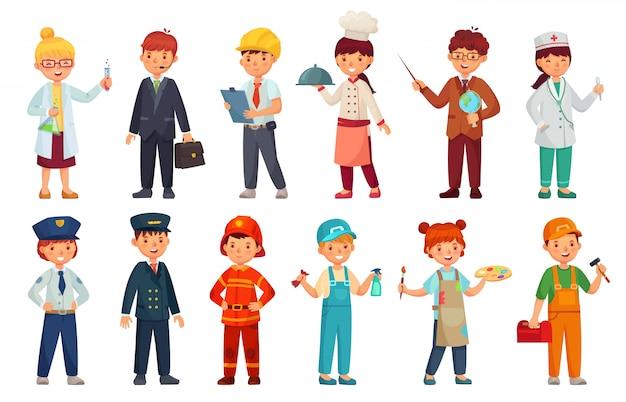 Cartoon bambini in divisa professionale. insieme dell'attrezzatura dei bambini di medico, del bambino dell'uomo d'affari e dell'ingegnere del bambino Vettore Premium