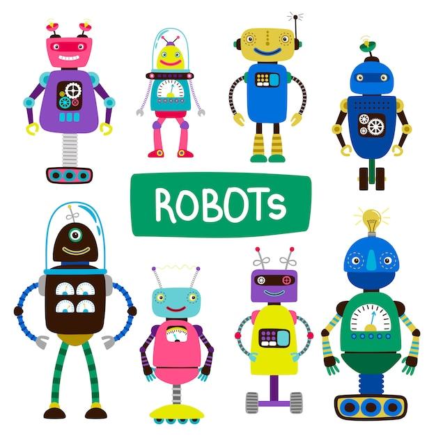 Robot dei bambini del fumetto dell'illustrazione dell'insieme Vettore Premium