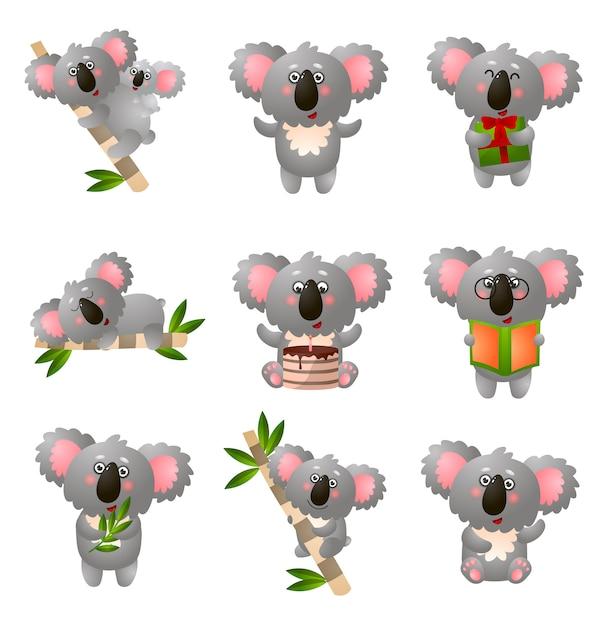 La koala del fumetto ha messo nella posa differente su fondo bianco Vettore Premium