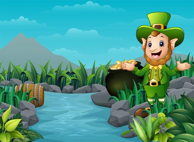 Cartoon leprechaun e una pentola d'oro nella natura Vettore Premium