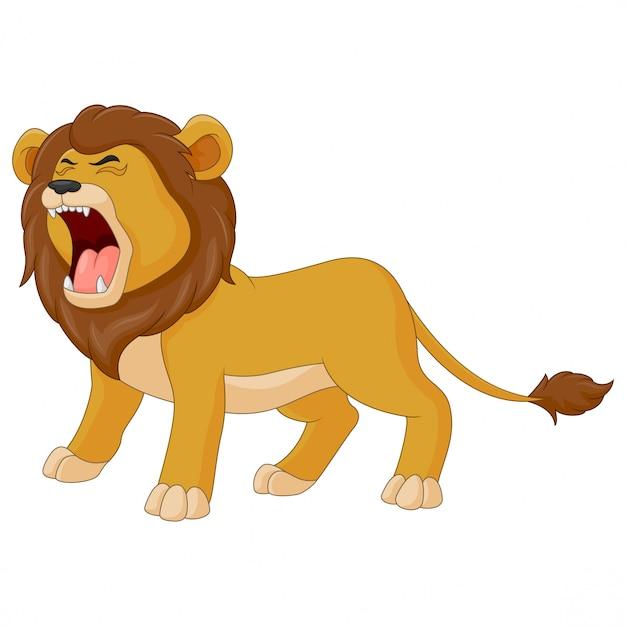 Cartone animato il leone ruggisce Vettore Premium
